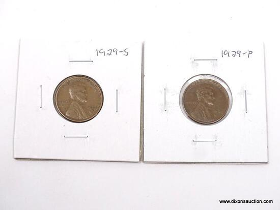 1929, 1929-S XF LINCOLN CENTS.
