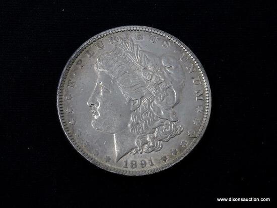 1891-P UNCIRCULATED MORGAN SILVER DOLLAR.