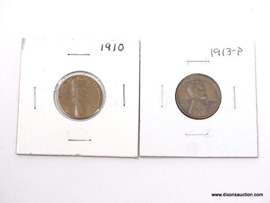 1910-P, 1913-P XF LINCOLN CENTS.