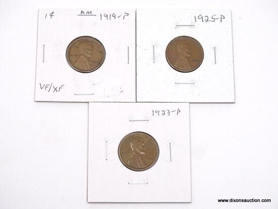 1919-P, 1923-P, 1925-P XF LINCOLN CENTS.