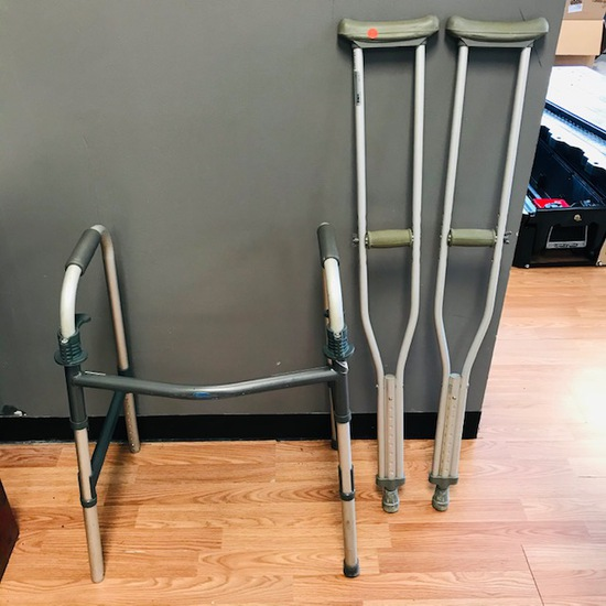 CRUTCHES AND FOLDABLE WALKER - PRE-OWNED