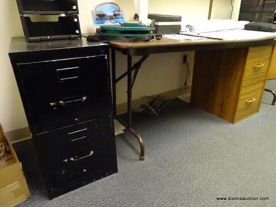 "(RM1) BLACK METAL 2 DRAWER LATERAL FILING CABINET. MEASURES 15"" X 25.5"" X 29"", AND A WOODGRAIN 2"