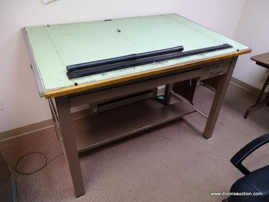 "(RM2) MAYLINE COMPANY WOOD AND METAL DRAFTING TABLE. MEASURES 60"" X 38.5"" 37.5""."