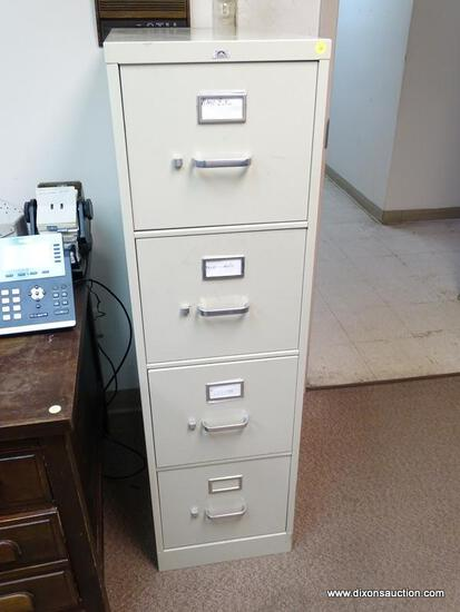 "(RM2) PINNACLE 4 DRAWER CREAM COLOR LATERAL FILING CABINET. MEASURES 15"" X 26.5"" X 52""."