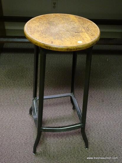 "(RM3) VINTAGE METAL STOOL WITH WOODEN SEAT. MEASURES 30"" TALL."