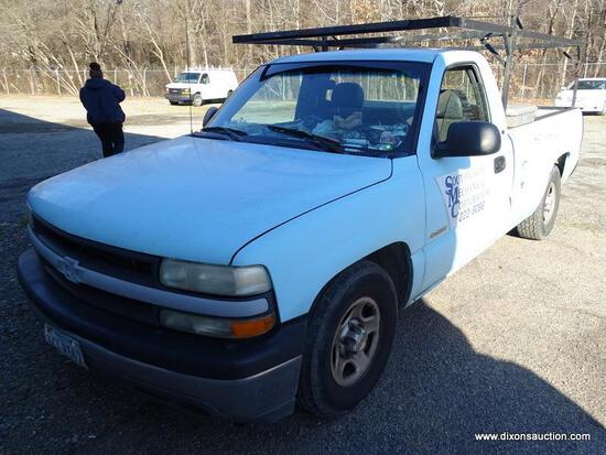 2001 CHEVROLET 1500 PICKUP TRUCK. LADDER RACK AND REAR TOOL BOX. ESTIMATED 229,210 MILES +/-.
