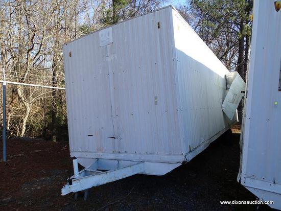 WHITE CONTRACTOR OFFICE TRAILER. RUSTED, NEEDS TIRES. PLEASE SEE PICTURES FOR CONDITION. COME