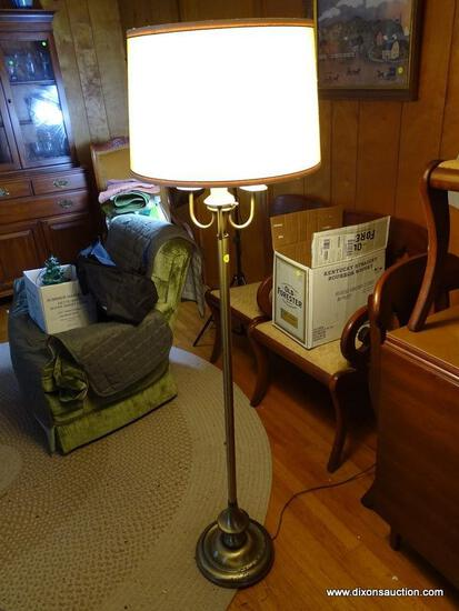 (FRM) FLOOR LAMP; BRASS FLOOR LAMP WITH SHADE ; 50 IN H.