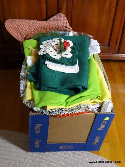(FRM) LINENS; BOX LOT TABLE LINENS AND PLACEMATS