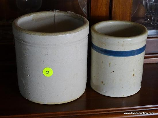 (FRM) 2 CROCKS ; 2 GREY ANTIQUE CROCKS - 6 IN AND 5 IN BLUE STRIPED
