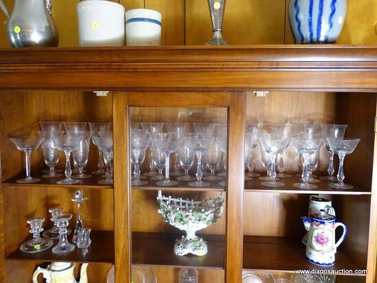(FRM) ETCHED CRYSTAL LOT ; 32 PC OF ETCHED CRYSTAL STEMWARE- 12 RED WINE GLASSES, 10 WHITE GLASSES,