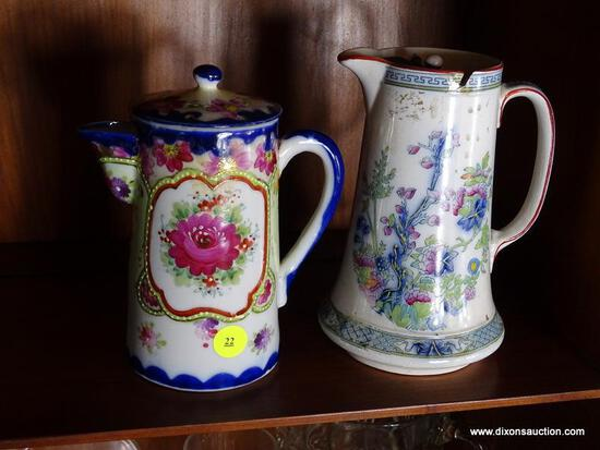 (FRM) 2 CHOCOLATE POTS ; 2 CHOCOLATE POTS -19TH CEN. INDIAN TREE PORCELAIN CHOCOLATE POT - 7 IN H