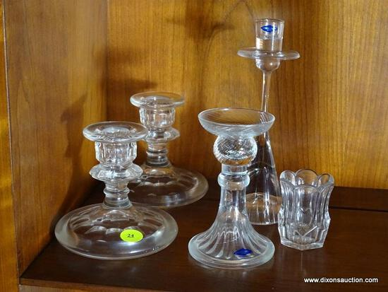 (FRM) CANDLE HOLDERS ; PAIR 4 IN H GLASS CANDLE HOLDERS, 2 CANDLE HOLDERS FROM FINLAND ONE IS 4 IN