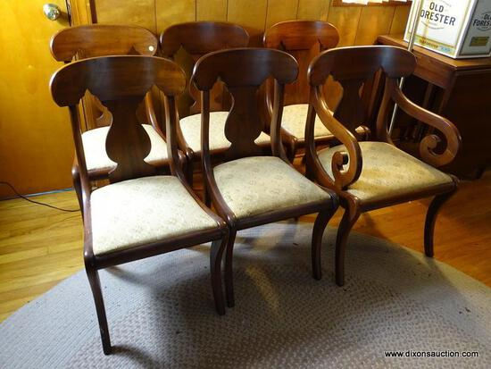 (FRM) HENKEL-HARRIS CHAIRS; 6 HENKEL HARRIS CHERRY EMPIRE STYLE CHAIRS- ONE ARM AND 5 SIDES