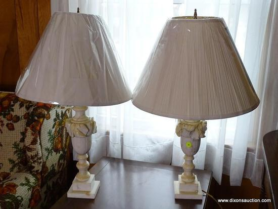 (FRM) PAIR OF LAMPS ; PAIR OF CARVED ALABASTER LAMPS WITH SHADES 28 IN H