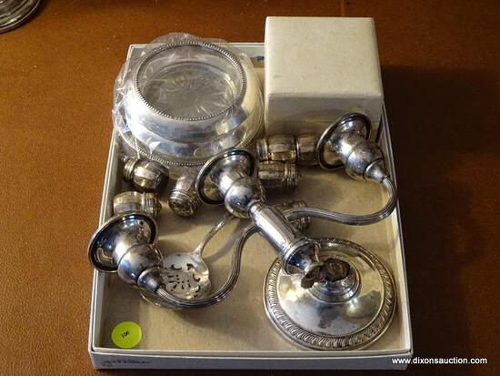 (FRM) STERLING SILVER; MISC.. LOT OF STERLING SILVER PAIR OF STERLING NAPKIN RING IN ORIGINAL BOX ,