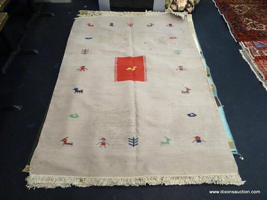 "INDIA DURRIE HAND MADE RUG MEASURES 5' 3"" X 7"" 5""."