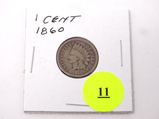1860 INDIAN HEAD ONE CENT.