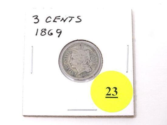 1869 THREE CENTS.