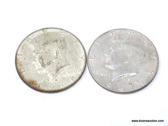 1967, 1968 KENNEDY HALF DOLLARS.