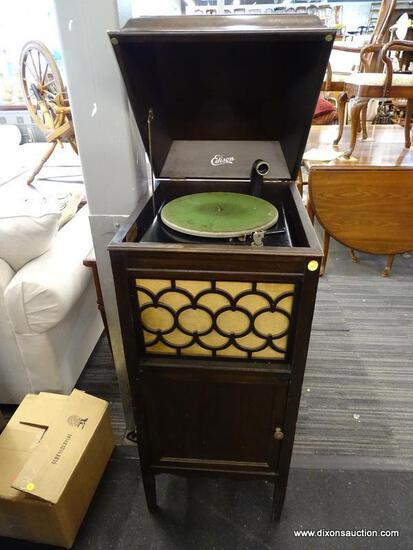 EDISON MAHOGANY MUSIC CABINET WITH A LIFT TOP, CENTER HORN, AND 1 LOWER DOOR THAT OPENS TO REVEAL