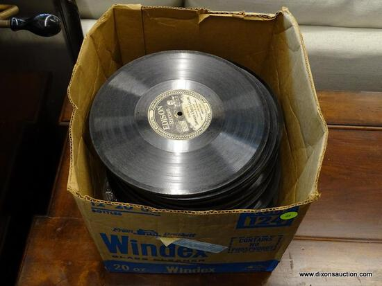 BOX LOT OF EDISON PHONOGRAPH RECORDS WITH TITLES TO INCLUDE ANVIL CHORUS, MISERERE, BEN HUR CHARIOT