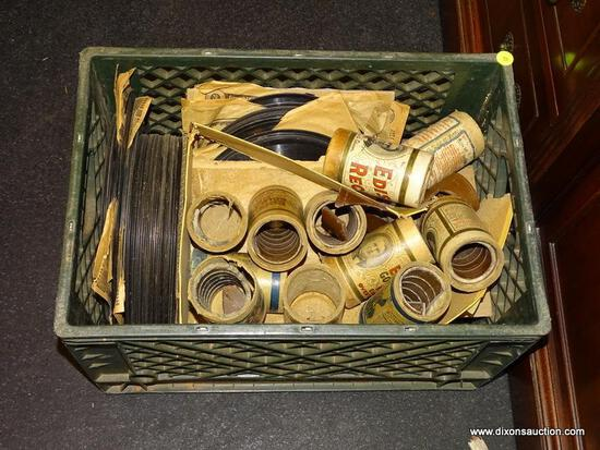 MILK CRATE LOT OF ASORTED EDISON CYLINDER RECORDS AND PHONOGRAPH RECORDS WITH TITLES TO INCLUDE