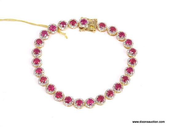 .925 SILVER AND DIAMOND RUBY BRACELET. ROUND SHAPE RUBIES WEIGHING APPROX. 9.41 CARATS. 52 ROUND