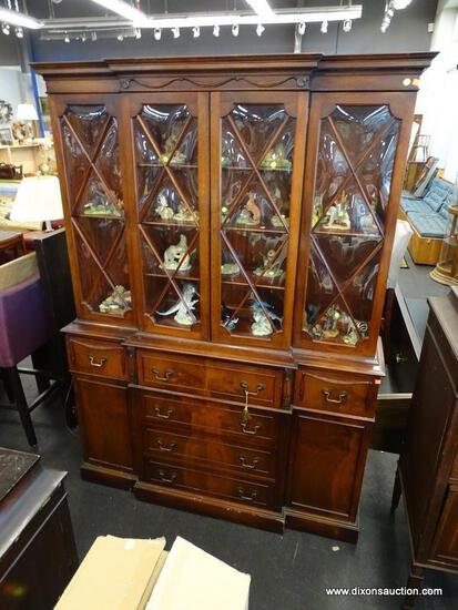 SAGINAW FURNITURE MAHOGANY 2 PIECE CHINA CABINET WITH DROP DOWN BUTLERS DESK. TOP SECTION HAS 4