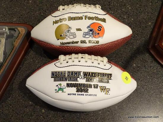 (BAS) 2 MINIATURE FOOTBALL LOT TO INCLUDE A NOTRE DAME VS WAKE FOREST AND A NOTRE DAME MINI FOOTBALL