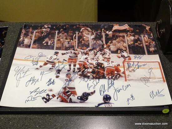 (BAS) UNFRAMED AND AUTOGRAPHED 1980 USA HOCKEY TEAM PHOTOGRAPH WITH COA FROM STEINER SPORTS