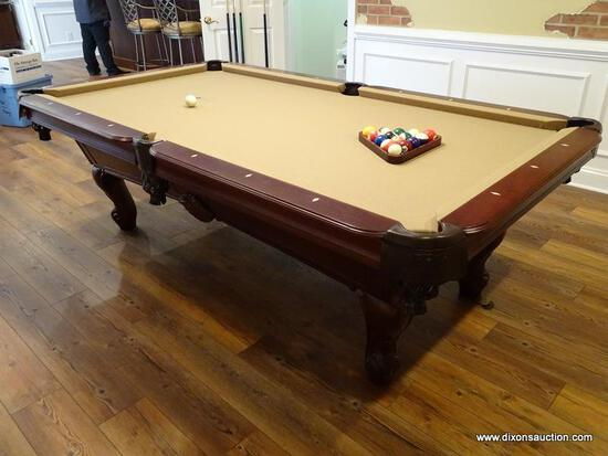 (BAS) STRATFORD 7FT SLATE POOL TABLE WITH LEATHER DROP POCKETS, 3 POOL STICKS AND A BRIDGE,