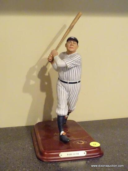 "(BAS) THE DANBURY MINT ""BABE RUTH"" FIGURINE. MEASURES 5 IN X 6 IN X 10.5 IN. ITEM IS SOLD AS IS"