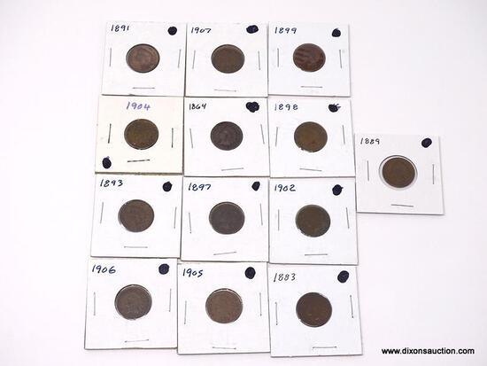 various One Cent - Indian Head - bag of 13 coins