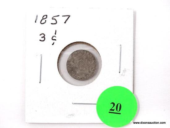 1857 Three Cents - silver