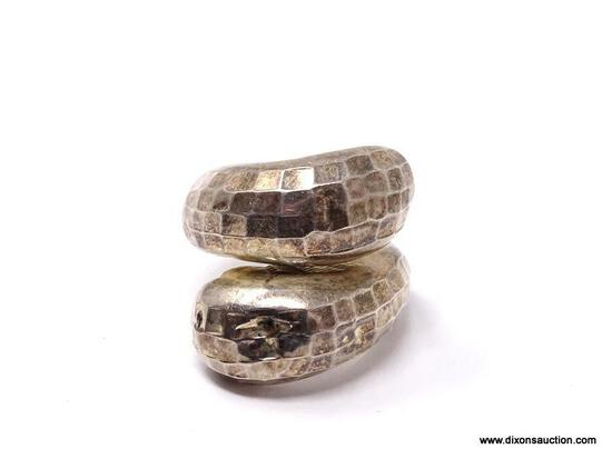 """.925 STERLING SILVER HAMMERED MODERNIST RING. MARKED ON THE INSIDE """"925 & THAI"""". RING SIZE IS"""
