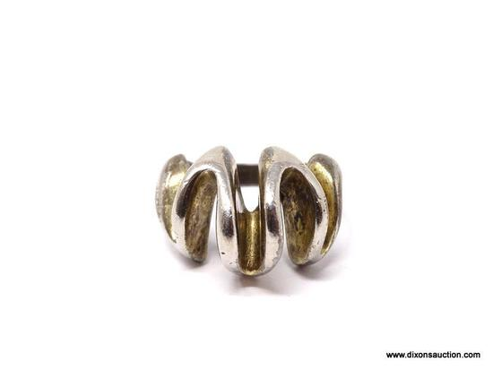 """.925 STERLING SILVER MODERNIST RING. MARKED ON THE INSIDE """"STERLING"""". RING SIZE IS APPROX. 8. WEIGHS"""