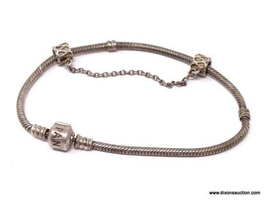 """PANDORA .925 STERLING SILVER CHARM BRACELET. WEIGHS APPROX. 18.20 GRAMS & MEASURES APPROX. 8-1/2"""""""