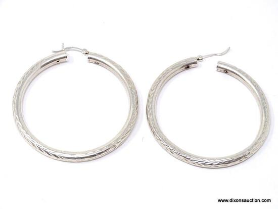 PAIR OF .925 STERLING SILVER PIERCED HOOP EARRINGS WITH ENGRAVED DESIGN. NOTE, ONE CLASP NEEDS TO BE