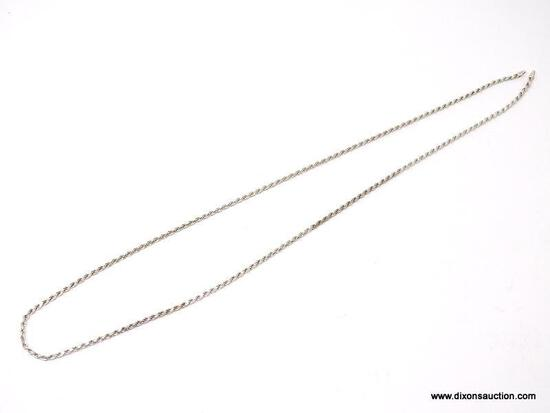 .925 STERLING SILVER ROPE TWIST NECKLACE. MARKED .925 ITALY. NEEDS CLASP ADDED TO WEAR. WEIGHS