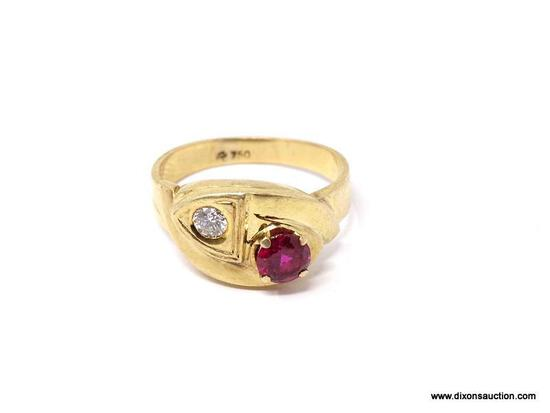 """18K YELLOW GOLD MENS RING WITH APPROX. 1/4 CT. DIAMOND & 1 CT. RUBY. MARKED ON THE INSIDE """"750""""."""