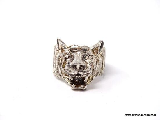 """.925 STERLING SILVER OPEN MOUTH TIGER RING. MARKED ON THE INSIDE """"925"""". WEIGHS APPROX. 7.83 GRAMS."""