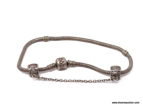PANDORA .925 STERLING SILVER CHARM BRACELET WITH SCREW ON SAFETY CHAIN. WEIGHS APPROX. 21.35 GRAMS.