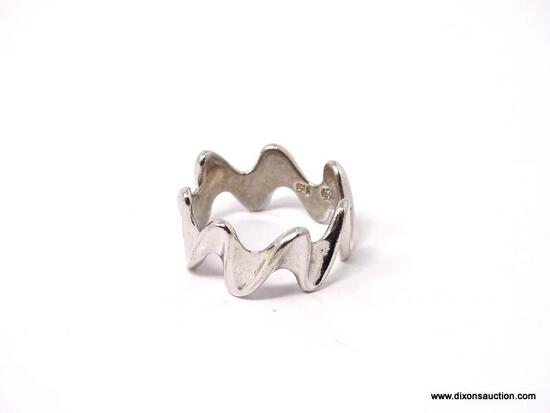 """MODERNIST .925 STERLING SILVER WAVY BAND. MARKED ON THE INSIDE """"925"""". WEIGHS APPROX. 5.22 GRAMS. THE"""