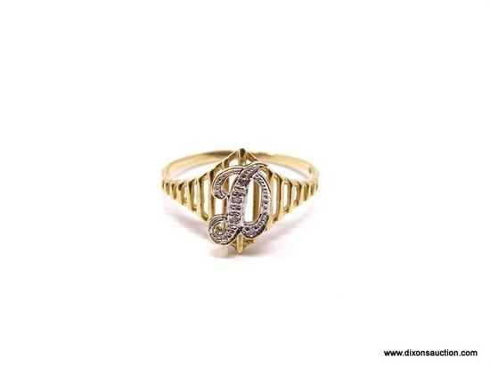 """10K YELLOW GOLD """"D"""" DADS RING FEATURING SMALL DIAMOND CHIPS. MARKED ON THE INSIDE """"10K"""". RING SIZE"""
