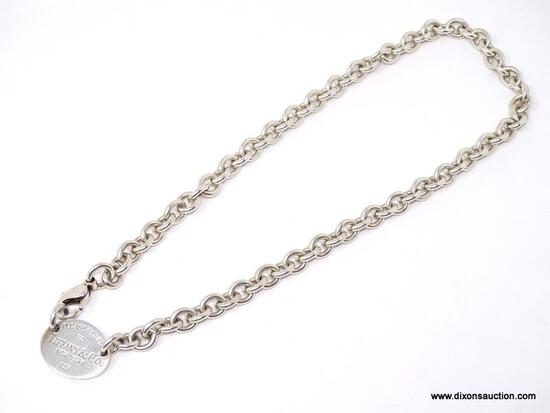 PLEASE RETURN TO TIFFANY & COMPANY N.Y. .925 STERLING SILVER CHAIN LINK NECKLACE WITH TAG. WEIGHS