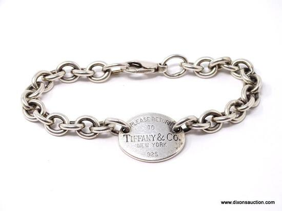 PLEASE RETURN TO TIFFANY & COMPANY N.Y. .925 STERLING SILVER CHAIN LINK BRACELET WITH TAG. WEIGHS