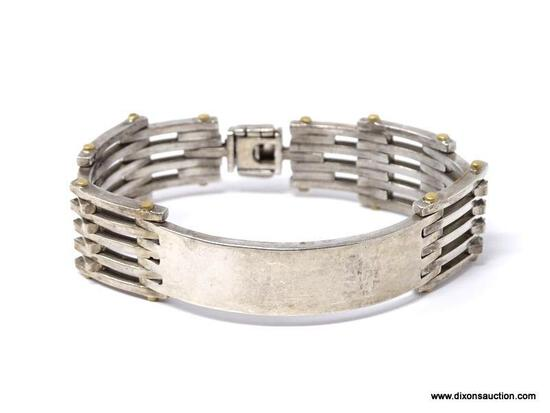 HEAVY TAXCO TA-48 MEXICO .925 STERLING SILVER MEN'S ID TAG LINK BRACELET. VERY NICE PIECE. MARKED ON