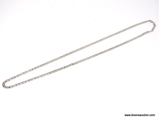 """SUBSTANTIAL .925 STERLING SILVER CURB LINK CHAIN. VERY HEAVY. MARKED ON THE CLASP """"925 ITALY""""."""