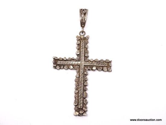 VERY NICE, LARGE .925 STERLING SILVER PEBBLE BORDERED BAILED CROSS. WEIGHS APPROX. 9.54 GRAMS &